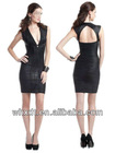black deep V neck back open sexy women tight bandage dresses evening