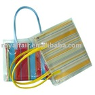 0.5mm clear pvc tote bag with stripe polyester fabric inside