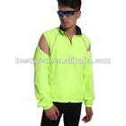 Jaggad unisex fluo yellow vest&jacket detachable zippe front reflective piping wind proof cycling jersey