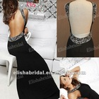 Hot Designer Beaded Black High Scoop Neckline Sexy Back Open Evening Dress