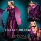 ET-143 Beaded One-Shoulder Taffeta Long Dress With Flower