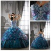 Special Design Colorful Handmade Beading Flower Organza Quinceanera Dresses In Stock