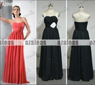 AZRB006 Chffion Orangered/Black Empire Waist Bridesmaid Gown