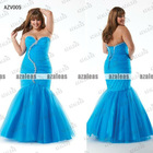 AZV005 Strapless Sweetheart Mermaid Organza with beads Plus size evening dresses