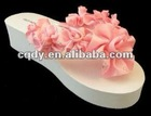 ivory with pink flower Women beach shoes/ladies beach shoes/beach eva slippers
