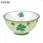 Modern fine porcelain bowl with Four Leaf Clover