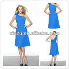 knee-length sloping shoulder satin fabric zipper back royal blue bridesmaid dress