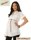 convertible sleeve button front maternity shirt