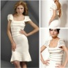 2012 Style Fashionable Knee Length Sequined Cocktail Dresses Cap Sleeves