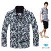 Satin 100% cotton long sleeve latest brand design European style slim fit floral pattern casual fancy fashion men printing shirt