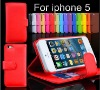 Flip Leather case for iPhone 5 smartphone with card holder wallet case