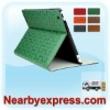 Green Clover-Pattern Leather Tablet Folio Case with Smart Magnetic Wake/Sleep Cover for ipad 2 for The New iPad