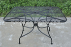 Garden Rectangular Wrought Iron Mesh Patio Table