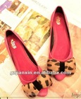 Good quality fashion and hot sell ladies sandal shoes Leopard Printing casual shoes bowknot flattie