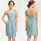 Simple EG-009 Green One-Should Sleeveless Knee-Length A-Line Imitated Silk Bridesmaid Dresses
