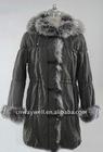 Ladies elegant fox fur long sleeve winter coat / outwear