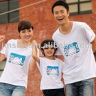 White 100%cotton printed short sleeve Family matching t-shirt for baby and parents