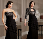 New Model Strapless Applique Beaded Satin Bodice with Layered Chiffon Skirt Jacket Included Mother of The Bride Dresses 2013