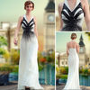 DORISQUEEN Latest Design One Shoulder Black And White Dresses