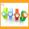 2012 hot flower style silicone watch snap interchangeable slap bands watches