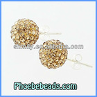 Wholesale 925 Genuine Sterling Silver Earrings Shamballa Crystal Rhinestone Ball Stud Earring Jewelry SSCE005