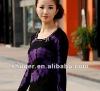 Vogue Rhinestone Embellished Lip Color Block Sweater Purple LP12092703-3