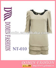 New style Hot Elegant white pleat hem dress with 100% polyester dresses, Plus size