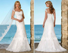 Cap sleeve beach wedding dresses lace