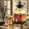 glass beverage dispenser;glass juice jar