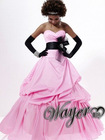 Hot Sale Sweetheart Neckline Sash Ball Gown Taffeta Romantic Pink Prom Gowns HL-PD601