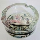 Handmade Round Glass Ashtray, Any Design Available