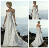 Wholesaler Strapless Handmade Beading Flower White Long Wedding Dress Chiffon