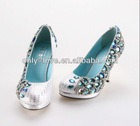 BS604 blue crystal party evening shoes,rhinestones bridal wedding shoes