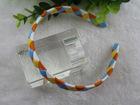 white & orange braided baby hair band