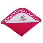 Catasy pure cotton 80*80cm two layers towelling with printed&embroidered butterfly pattern towel with hood