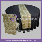 TR003A Rectangular fancy satin ribbon rosette embroidery wedding table runner