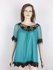 The Newest Style Ladies Short Sleeve Blouse With Lace lace
