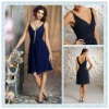 BD07 Royal blue Chiffon V-neckline Bridesmaid dress