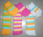ladies feather bright color glove and toe socks set series