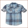 Boys Cotton Plaid Western Shirt with Convertible Sleeve