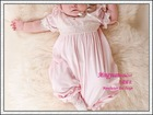 Hot Pink Cotton Short sleeve appliqued wholesale christening dresses