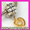 Gold Plated Silver Heart Beads Dangle Charms Wholesale