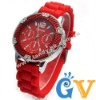 Geneva Silicone Gel Band Watches for Men and Women Christmas Day Gift Watches Red
