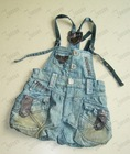 Children's denim overall--FS-TQ012# vintage blue