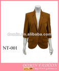 Hot selling 95%POLYESTER 5%SPANDEX with Brown fromal Lady's tops , Plus Size