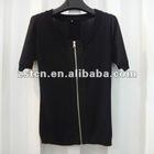 2012 Ladies' Black Simple Short Sleeve Knitted T-shirt