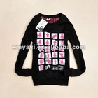 wholesale women round neck printed hoody with patches
