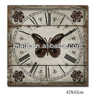 Antique Wooden Wall Clock With Butterfly