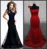 ED028 Free shipping Real samples 2012 red black sexy bridesmaid dress 2011