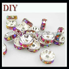 AB crystal big hole roundelle spacers beads